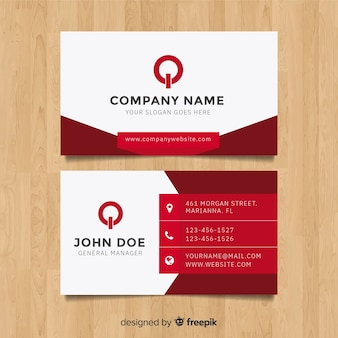 Modern business card template with flat design