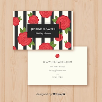 Modern business card template with floral style