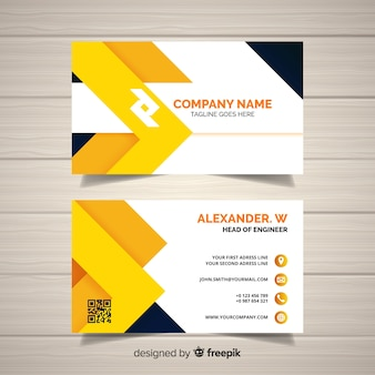 Modern business card template with geometric design