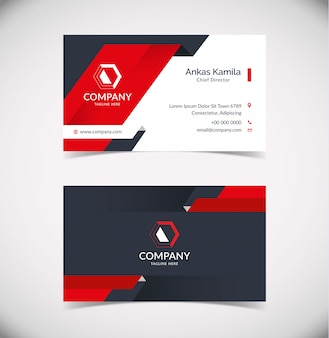 Modern business card template with geometric shape