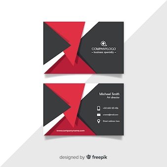 Modern business card template with geometric shapes