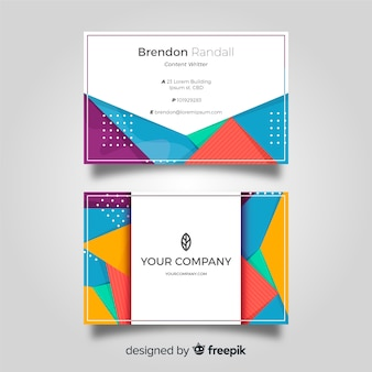 Modern business card template with geometry