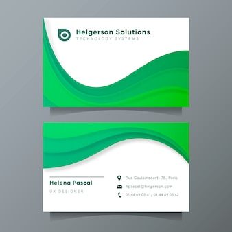 Modern business card template with green abstract shapes