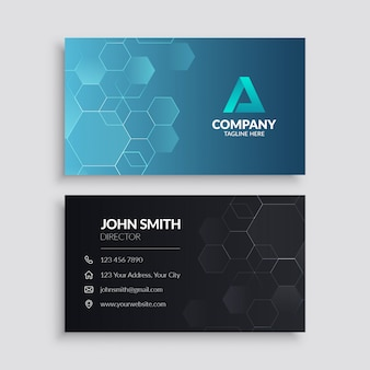 Modern business card template with hexagon pattern