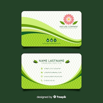 Modern business card template with nature style