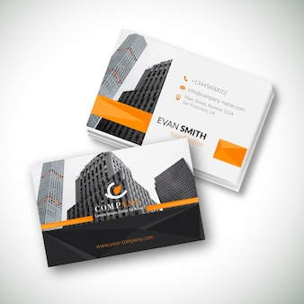 Modern business card template with photo of city
