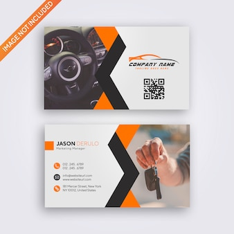 Modern business card vector template - orange abstract design