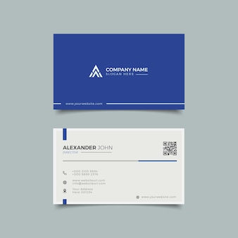 Modern business card white and blue elegant professional