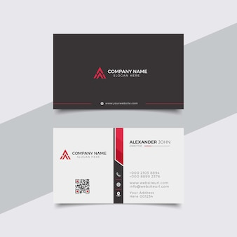 Modern business card white and reed corporate professional