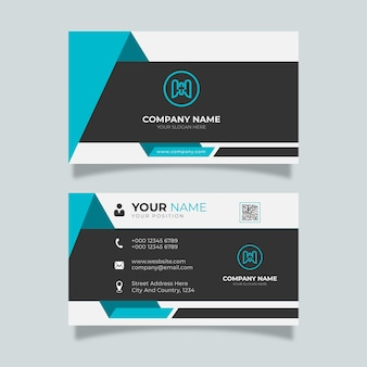 Modern business card white with blue and black details elegant design professional template