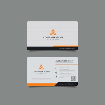 Modern business card white and yellow corporate professional