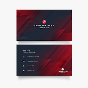 Modern business card with abstract red shapes