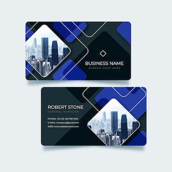 Modern business card with abstract shapes and photo