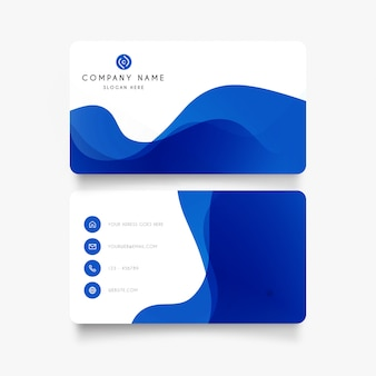 Modern business card with abstract waves