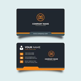 검정과 오렌지색 세부 우아한 디자인 전문 템플릿 현대 명함