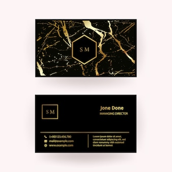 Modern business card with black gold marble texture