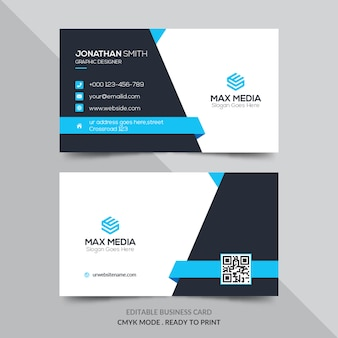 Modern business card with blue elements