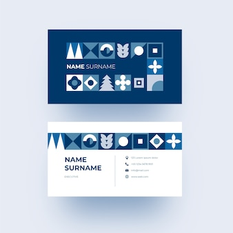 Modern business card with blue geometrical shapes