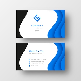 Modern Business card with blue waves