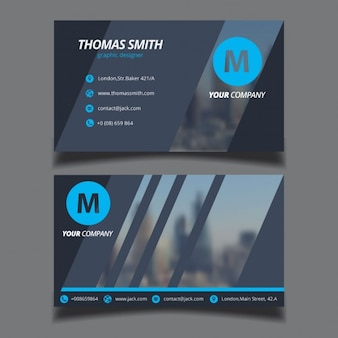 Modern business card with a blurred background