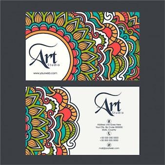 Современные визитные карточки с красочным украшением