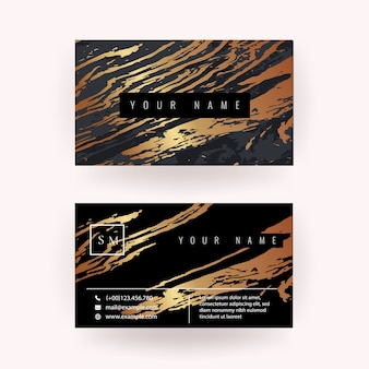 Modern business card with copper marble texture