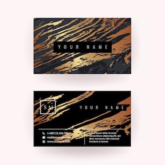 Современная визитная карточка с медной мраморной текстурой