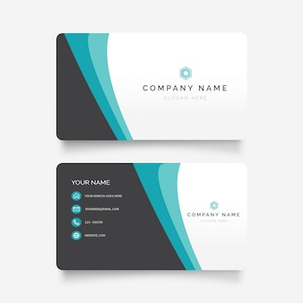 Modern business card with elegant waves