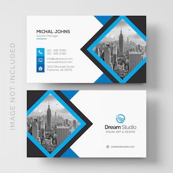 기하학적 블루 그레이 색상으로 현대 비즈니스 카드