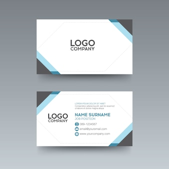 Modern business card with geometric blue gray color