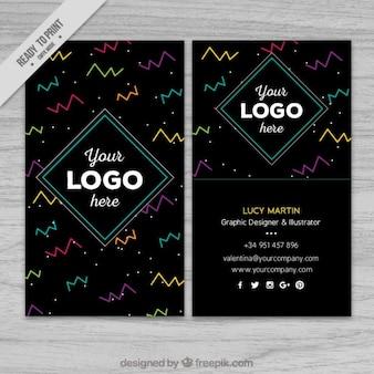幾何学的な着色された形状を有する現代のビジネスカード