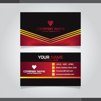 Modern business card with gradient shapes red and orange