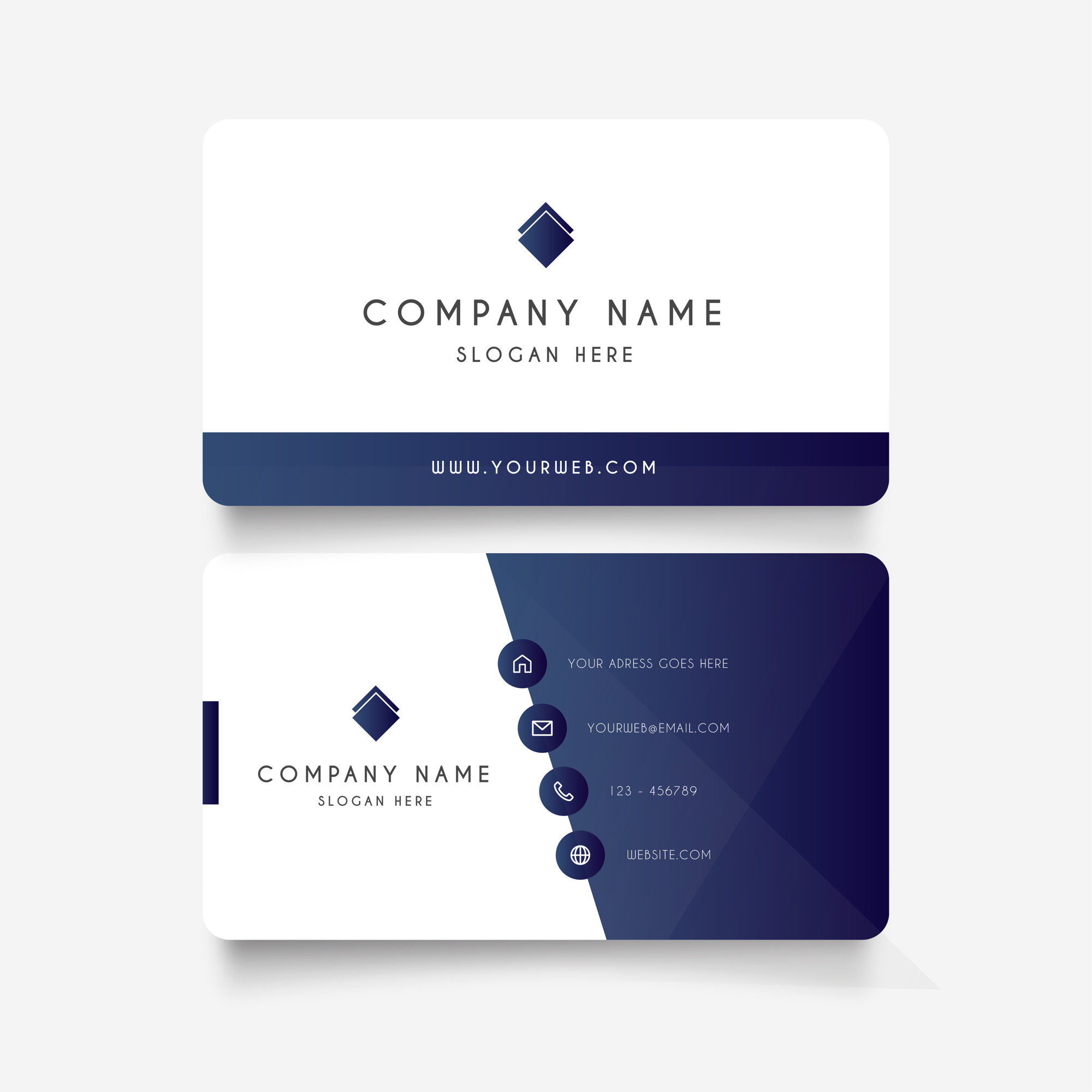 Modern business card with gradient shapes
