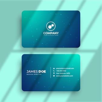 Современная визитная карточка с зеленой градиентной медицинской темой