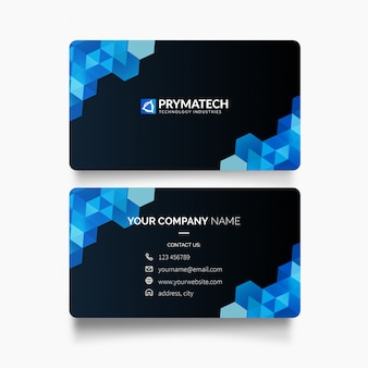 Modern business card with hexagon shapes