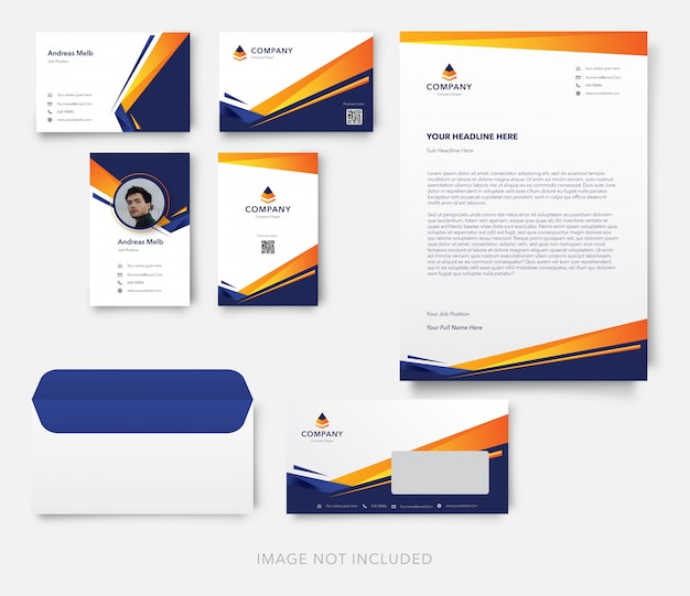 Modern business card with letterhead and envelope