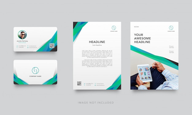 Modern business card with letterhead template