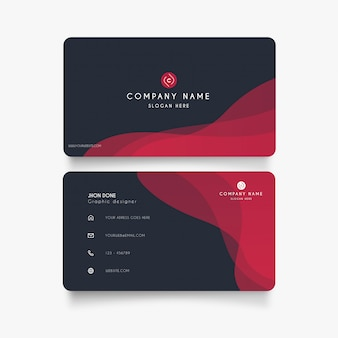 Modern business card with red waves