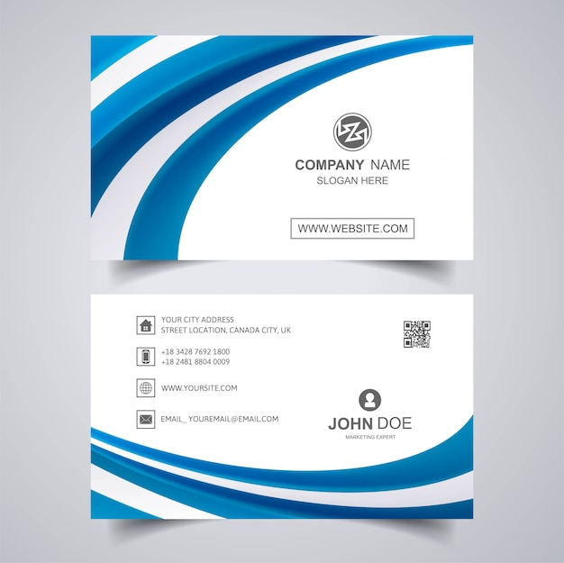 Modern business card with wave template