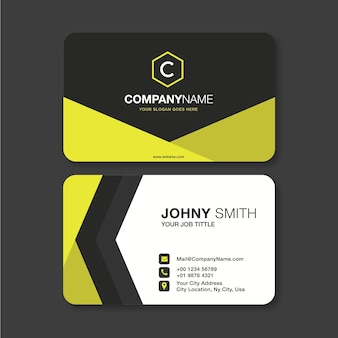 Modern business card in yellow
