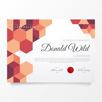Modern business certificate with geometric pattern