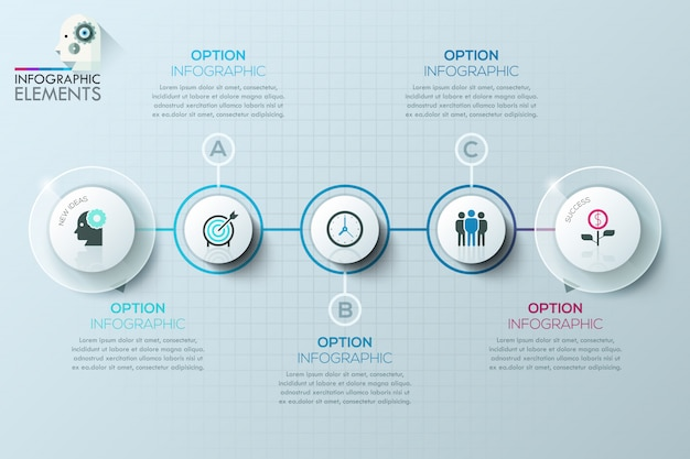 Modern business circle origami style options banner