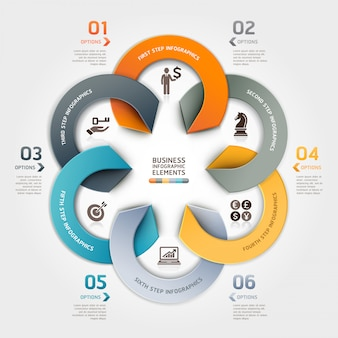 Modern business circle origami style options infographic.