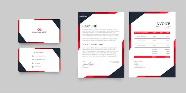 Пакет канцелярских товаров компании modern business с фирменным бланком и счетом-фактурой с абстрактными красными формами