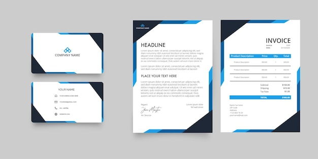 Modern business company stationery pack with letterhead and invoice with abstract blue shapes