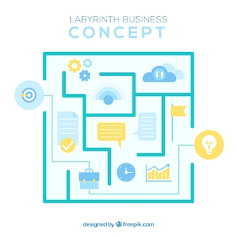 Modern business concept with labyrinth