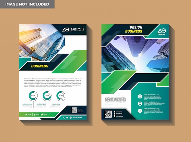 A modern business cover brochure layout with shape