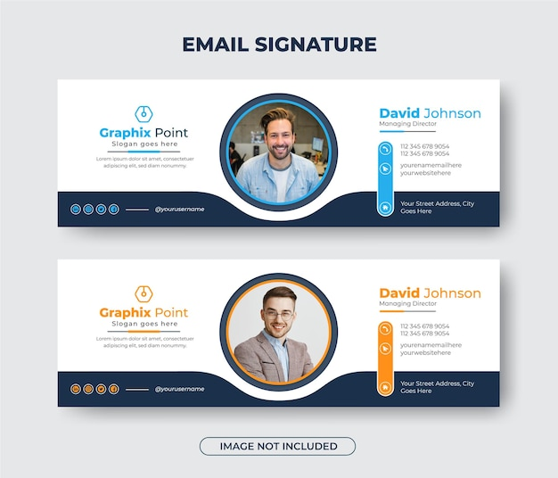 Modern business email signature template design or email footer and personal social media banner