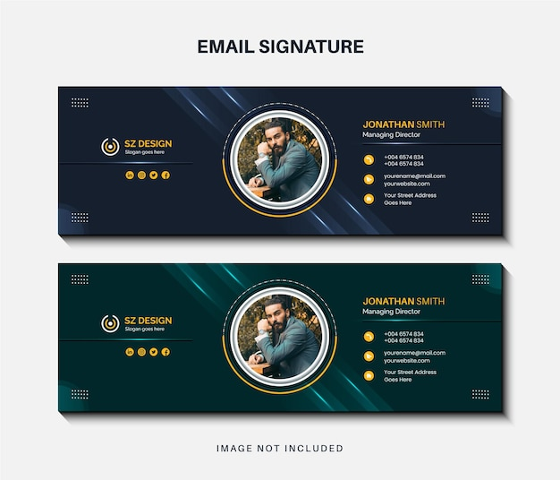 Modern business email signature template design or email footer and personal social media cover