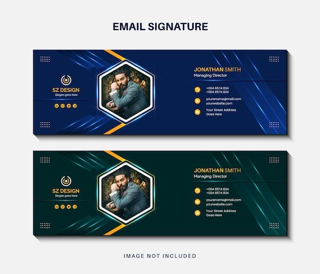 現代のビジネスメール署名テンプレートデザインまたはメールフッターとパーソナルソーシャルメディアカバー